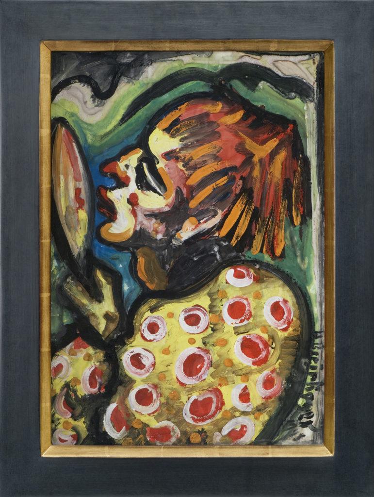 Clown mit Spiegel, 1948, 55 x 39 cm